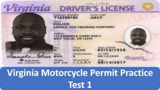 Virginia Motorcycle Permit Practice Test 1