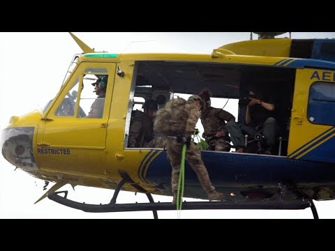 Rappelling from Chopper into Jungle