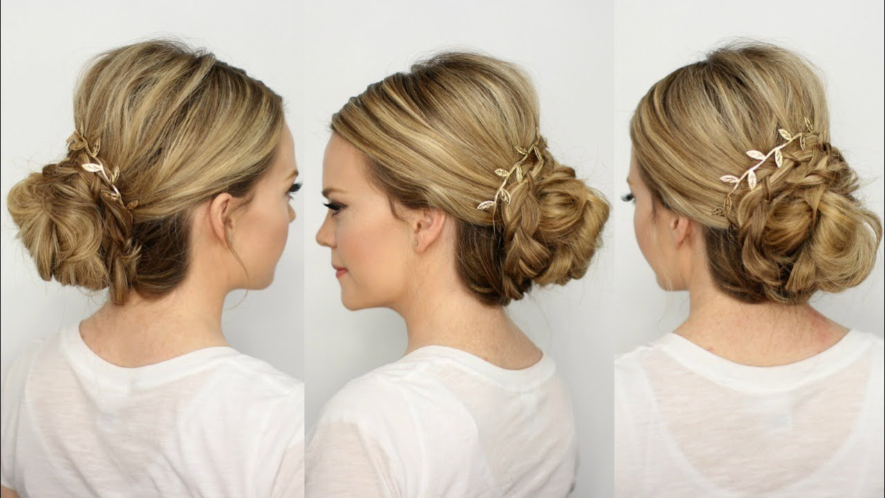 braid wrapped low bun - youtube