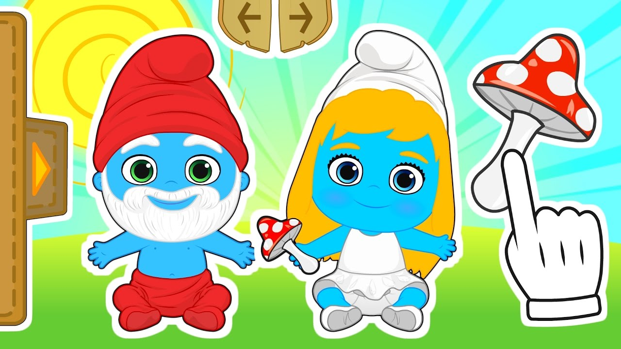 babies-as-smurfs-gameplay-with-smurfette-and-papa-smurf-costume-cartoons-for-kids