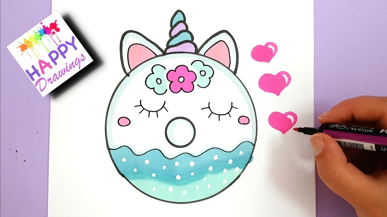 Drawing and Painting - HOW TO DRAW A CUTE UNICORN DONUT ...