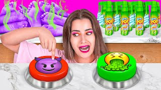 PURPLE VS GREEN MYSTERY ITEM CHALLENGE || Eating only 1 Color Food for 24 HOURS by 123 GO! CHALLENGE screenshot 1