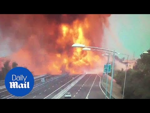 CCTV captures moment tanker truck explodes in Italy