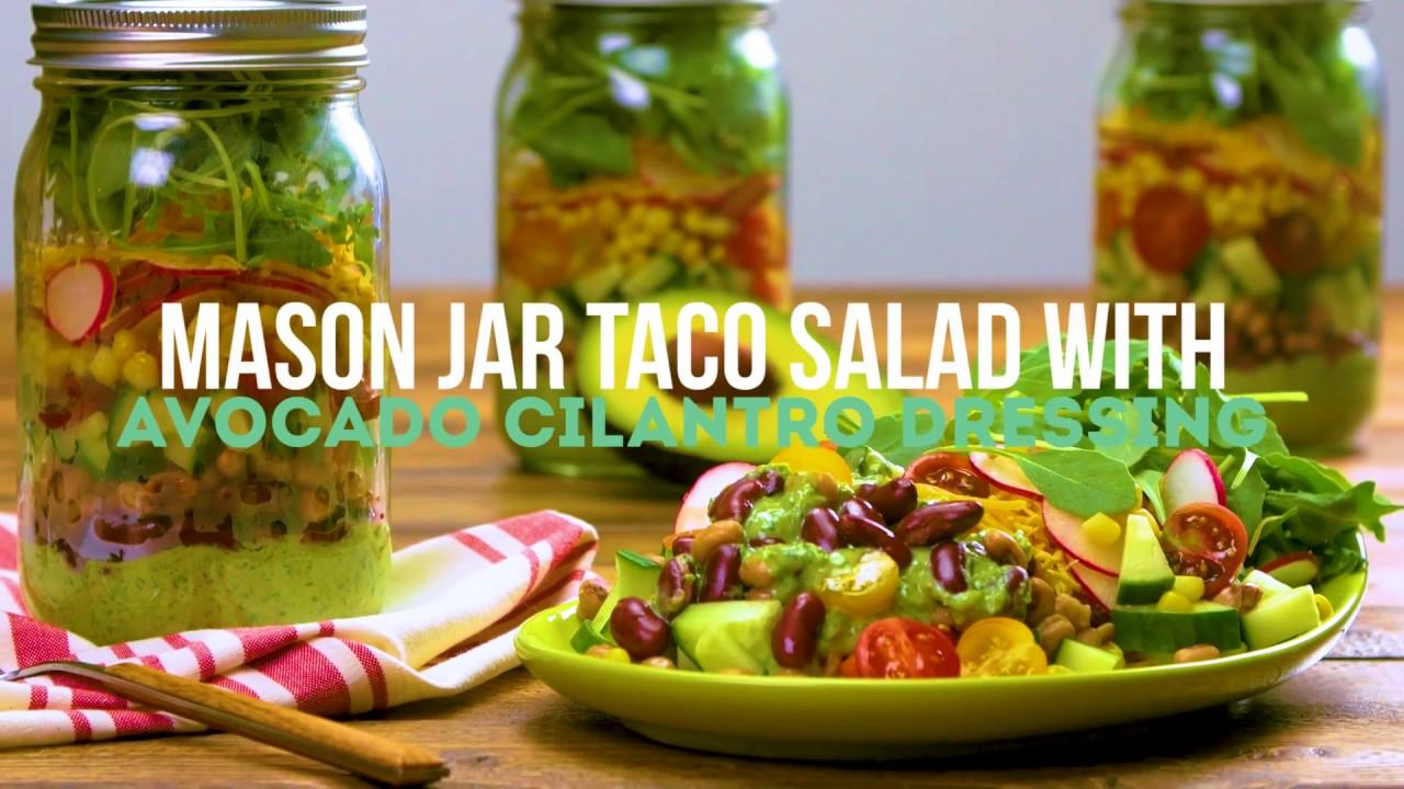 Mason Jar Taco Salad with Avocado-Cilantro Dressing