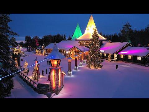 Santa Claus Father Christmas in Lapland Finland: Arctic Circle Santa's Home Rovaniemi visit children