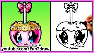 Cute Candy Apple - How To Draw Halloween Pictures - Easy Food & Desserts Best Fun2draw Kawaii