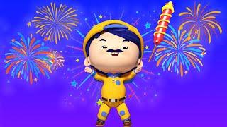 КАНУН НОВОГО ГОДА : Джонни запускает фейерверк на пляже - детские мультфильмы с машинами и животными