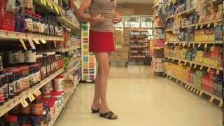 Grocery shopping in red micro skirt