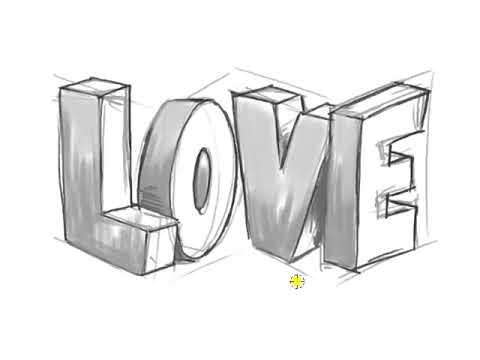 Cách Vẽ Chữ 3D TÌNH YÊU (LOVE)