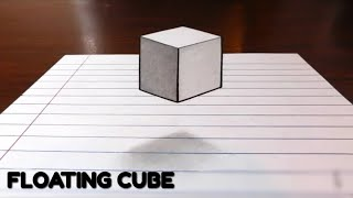 Floating Cube!! 3d trick art on paper easy (tutorial) 2018