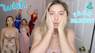 TRYING ON WISH PROM DRESSES! (a cheap mess)