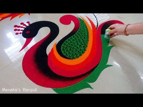 Beautiful Peacock Rangoli Design thumbnail