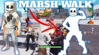 FORTNITE PLAYERS REACTION TO *NEW* MARSHMELLO SKIN & MARSH WALK EMOTE!!!