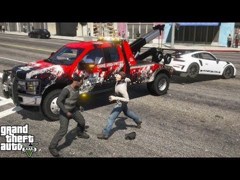 GTA 5 Real Life Mod #207 Guy Fights Me For Repoing His Porsche 911 GT3 With A 2020 Ford Tow Truck