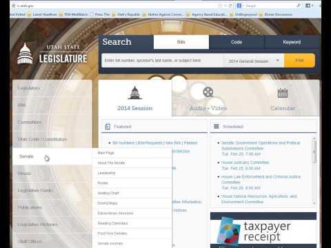 Navigate the Utah state legislature website