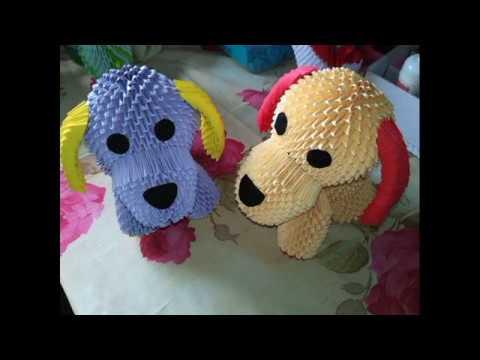 модульное оригами собачка (щенок, собака, dog) мастер класс для начинающих