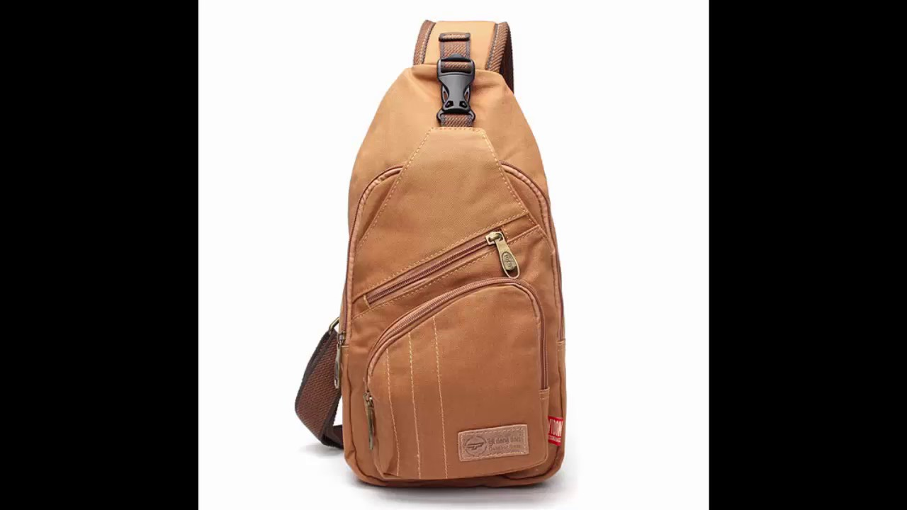 45cbe625454b Men Canvas Travel Hiking Crossbody Bag Casual Chest Bag - YouTube