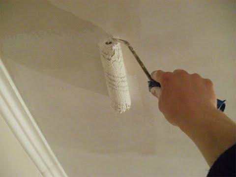 Подготовка и покраска потолка водоэмульсионной краской. Видео