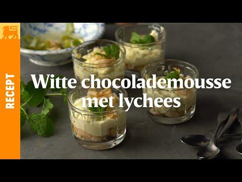 Witte chocolademousse met lychees