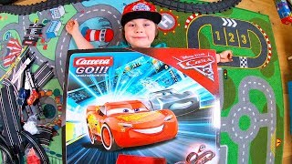 Lightning McQueen Cars 3 Race | Carrera Go Track Unboxing and Assembling | Cars for Kids