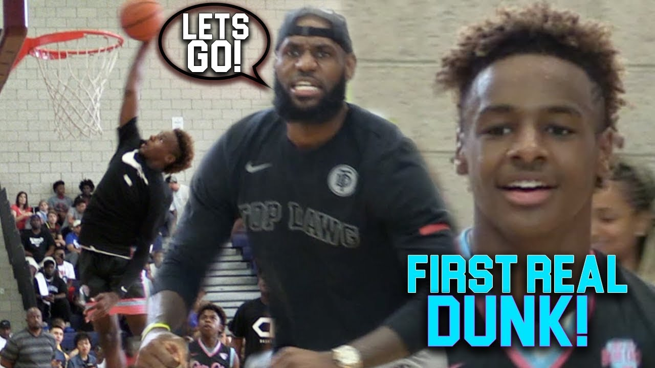 0e2ed3e34c2b BRONNY James Jr FIRST EVER DUNK IN CHAMPIONSHIP GAME!!! He s ONLY 13 ...