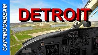 Cessna Citation Landing Detroit Metro DTW, Live ATC