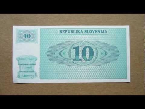 10 Slovenian Tolarjev Banknote Specimen (Ten Slovenian Tolarjev / 1990), Obverse and Reverse