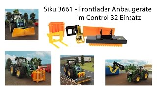 Siku 3661 - Frontlader Anbaugeräte im Siku Control 32 Einsatz