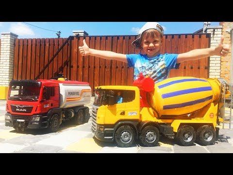 #Машинки для мальчиков Новый Бетоновоз #Bruder спешит на помощь Бензовозу Алекс и машинки