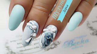 ENG CC Нежный дизайн ногтей  Мишка Тедди  Объемный дизайн ногтей