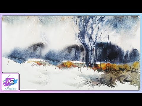 Black and white transparent Watercolor Painting | How to paint a watercolor landscape | Art Explain
