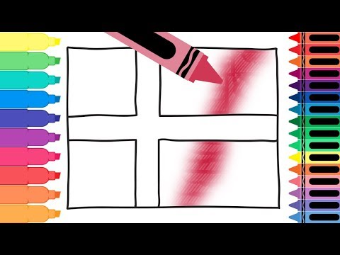 How To Draw Denmark Flag - Drawing The Danish Flag - Coloring Pages For Kids | Tanimated Toys