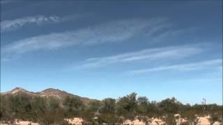 Chemtrails across the Arizona desert sky 10-22-2012