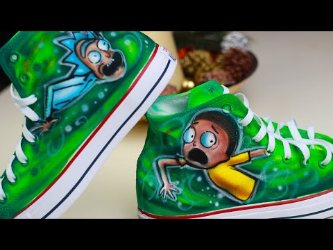 Rick and Morty Custom Painted Airbrushed Converse | Spray Art