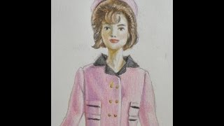 Speed drawing of Jackie Kennedy Barbie doll.