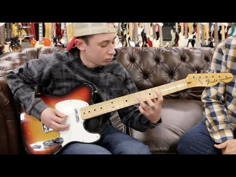 12-year-old Ben Goldsmith playing a 1974 Fender Telecaster at Norman's Rare Guitars
