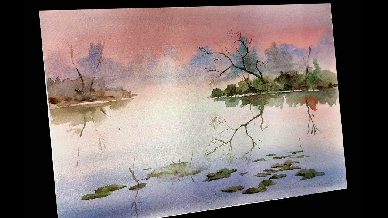 Easy watercolor step by step landscape painting  MKamzi Studios #watercolor #step #mkazmistudios