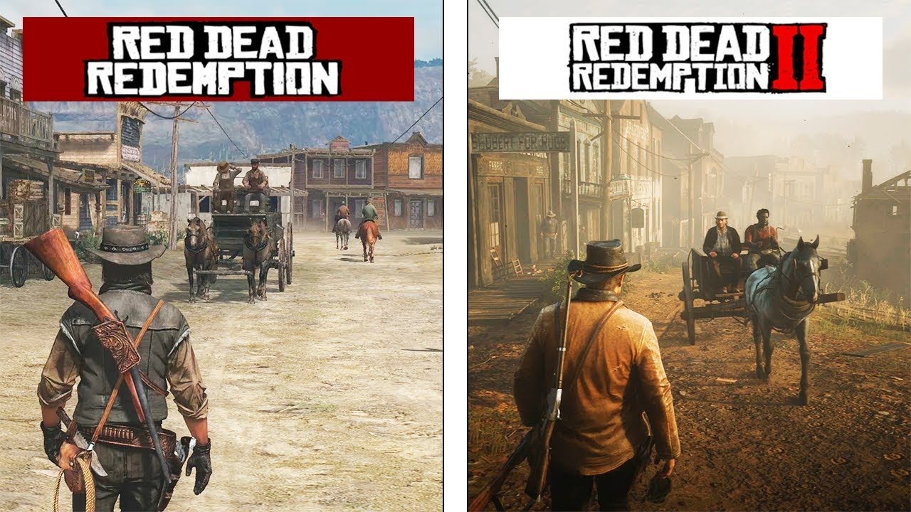 Image result for red dead redemption 1 and 2 comparison
