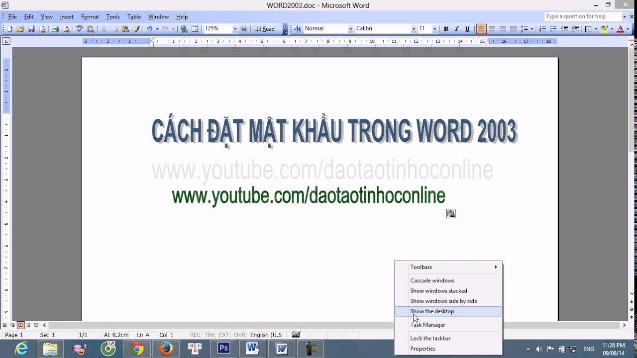 Hướng dẫn cách đặt mật khẩu cho file Word 2003