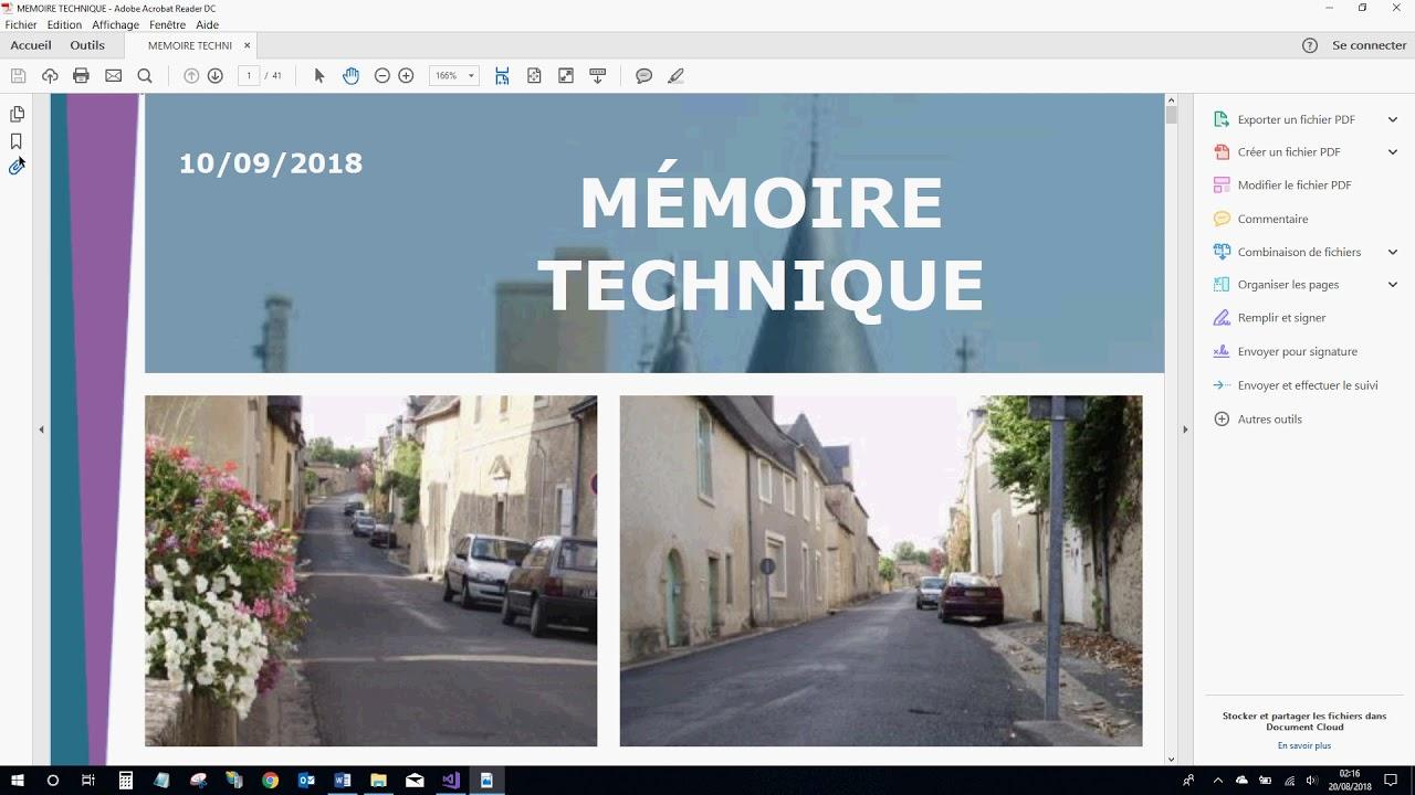 Enregistrement Pdf Du Mémoire Technique Word Youtube