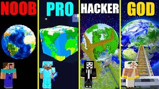 MINECRAFT BATTLE: NOOB vs PRO vs HACKER vs GOD: SECRET PLANET BASE CHALLENGE in MINECRAFT Animation