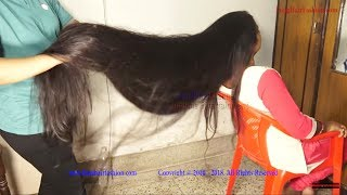 Amazing Hair Oiling with Extra Thick Long Hair Play