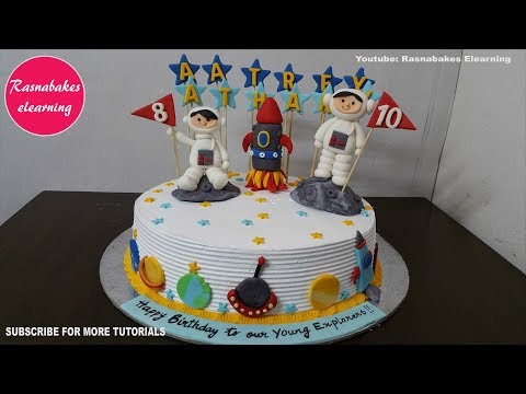 space planet galaxy rocket birthday cake ideas design decorating tutorial video at home thumbnail