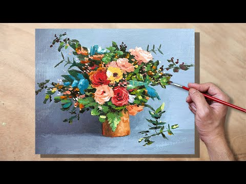 Acrylic Painting Floral Bouquet