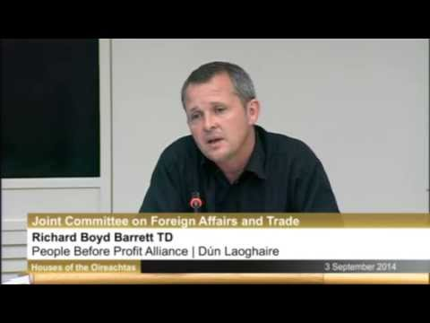Richard Boyd Barrett TD challenges Israeli ambassador at Oireachtas committee