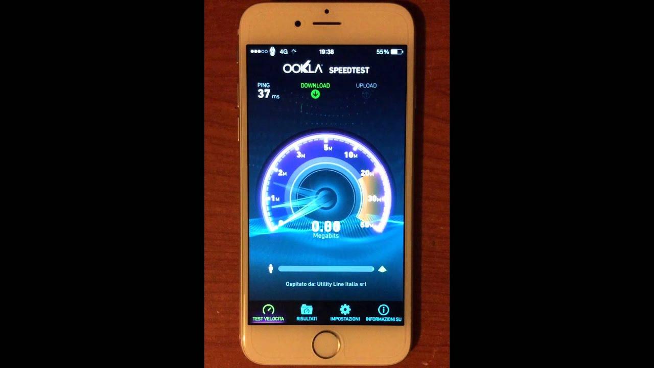 Speedtest 4G LTE iPhone 6 Vodafone Trecate (Novara)