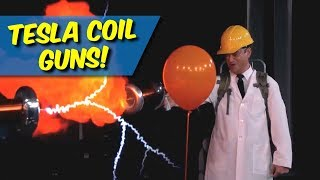 80,000 Volt Tesla Coil Guns Explode Hydrogen Balloons!
