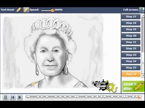 How To Draw Queen Elizabeth Ii Youtube