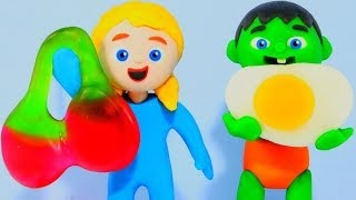 SUPERHERO BABIES MAGIC FOOD ❤ SUPERHERO PLAY DOH CARTOONS FOR KIDS