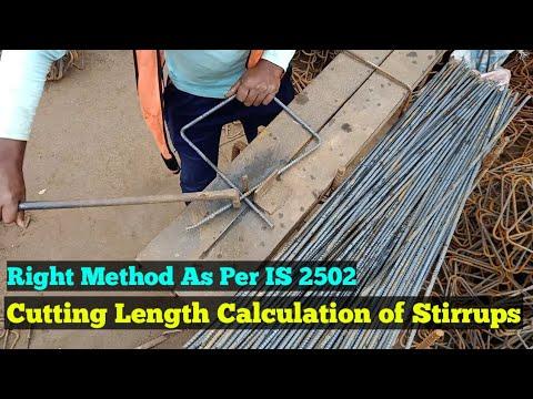 Stirrups Cutting Length Calculation Formula & Method As Per IS 2502